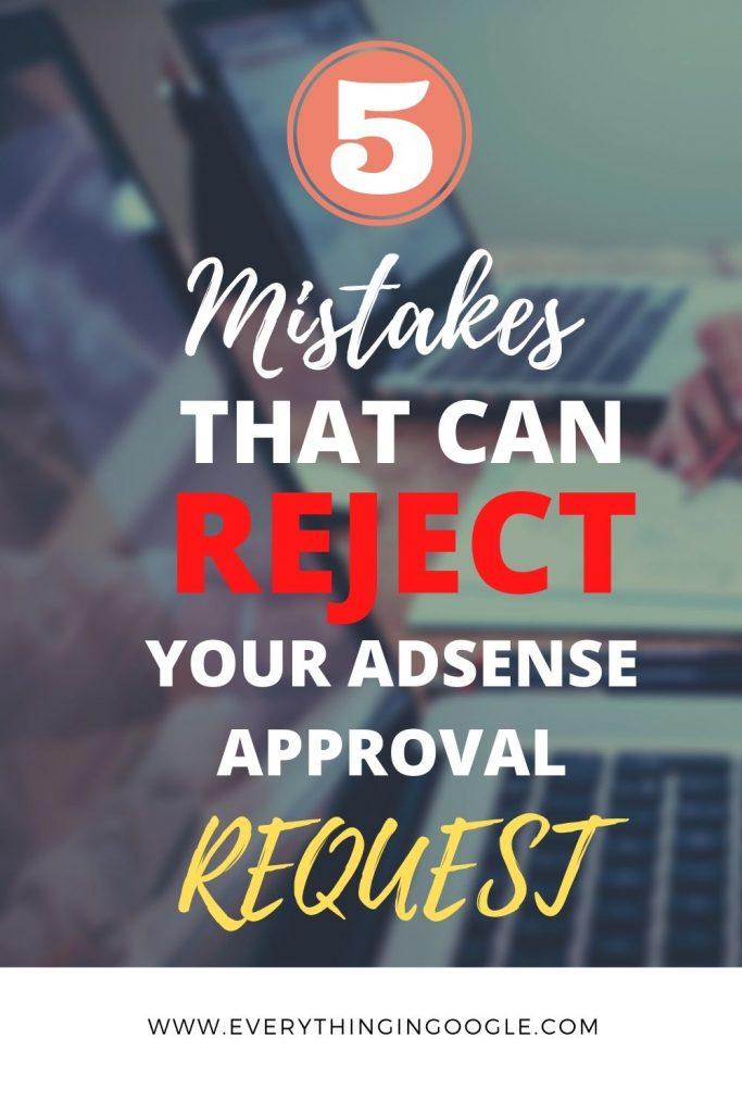 Reason of Google AdSense rejection