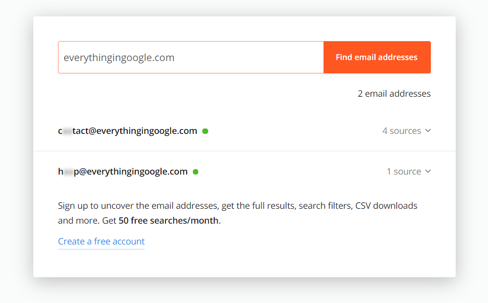 Hunter.io is perfect for reaching out to small sites and one-person blogs.