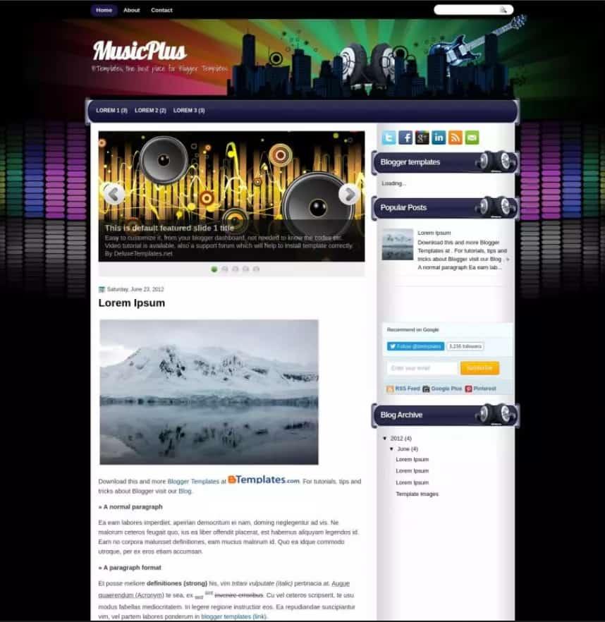 MusicPlus is a free lyricist blogger template