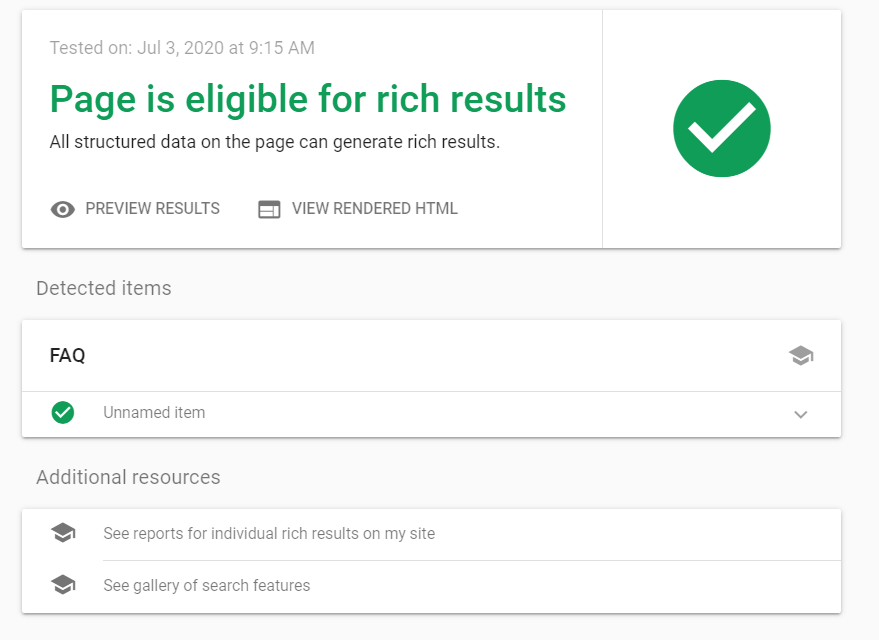 Google's rich results