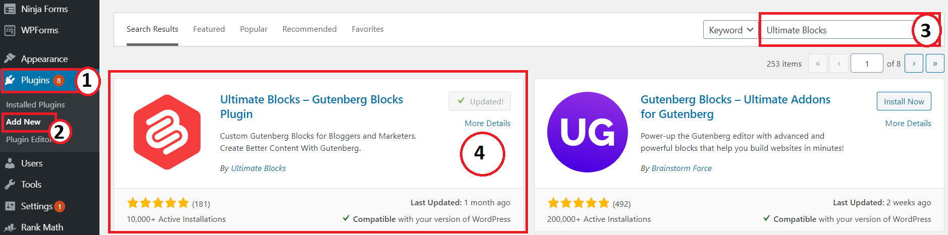 how to install ultimate blocks plugin