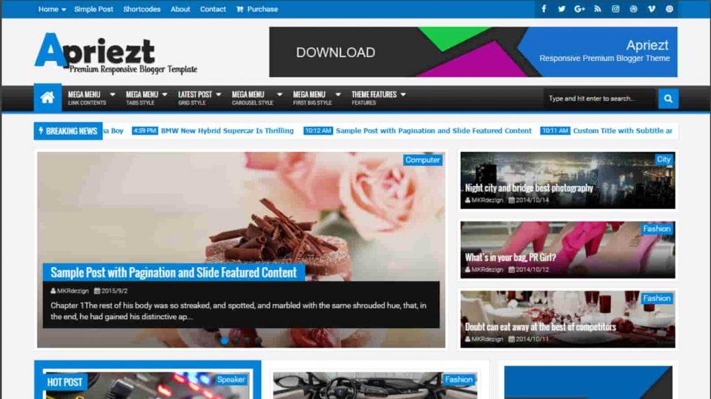 Apriezt Responsive Magazine News Blogger Theme