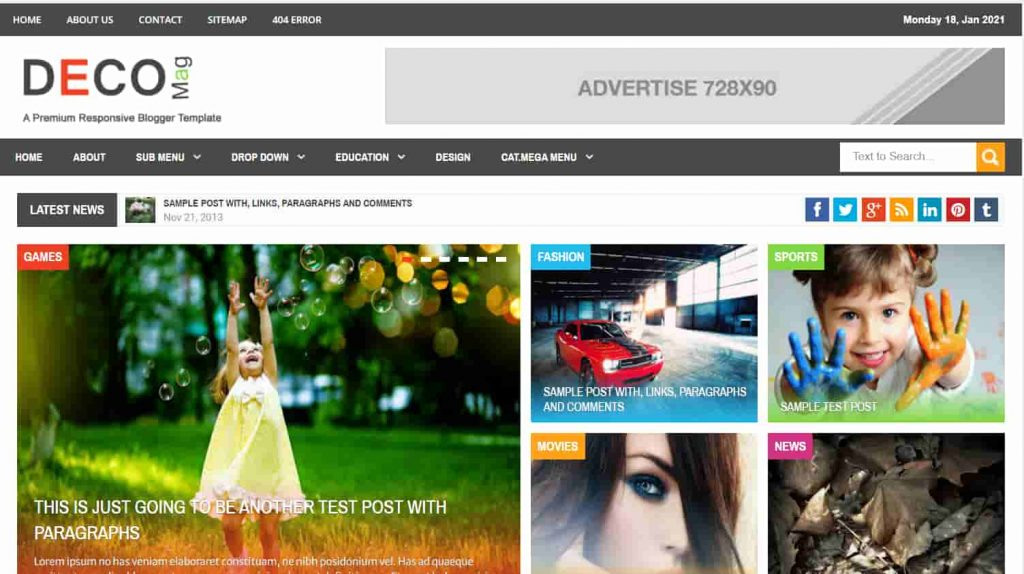 Deco Mag Responsive Magazine Blogger Template