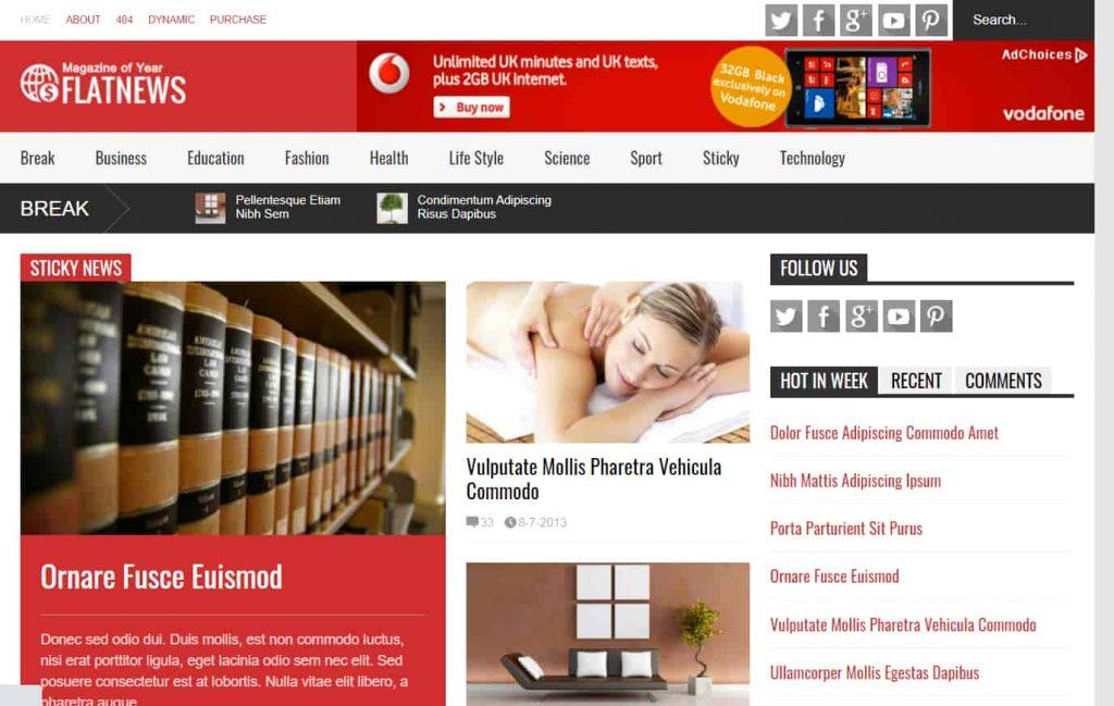 FlatNews Responsive Magazine Blogger Template for news