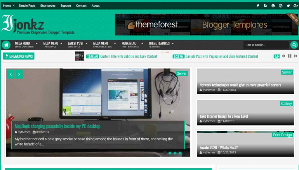 Ijonkz Responsive Magazine News Blogger Template
