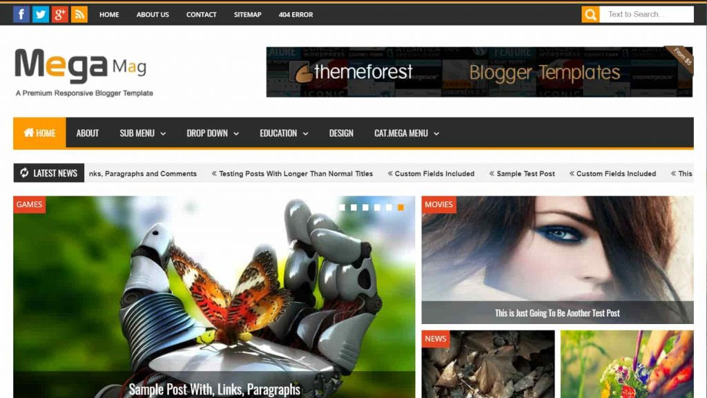 mega mag news blogger template