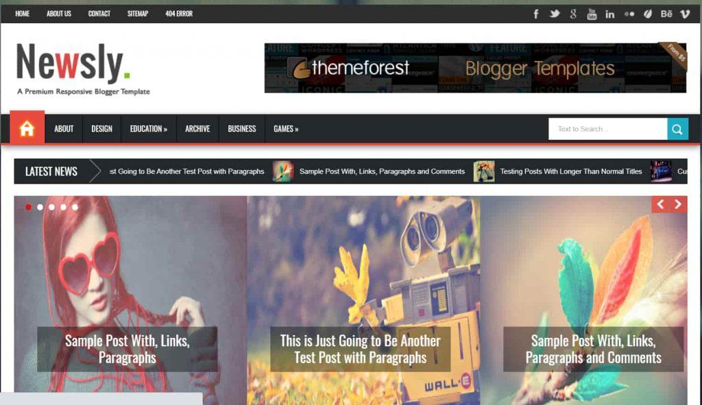 Newsly - Responsive Multipurpose Blogger Template