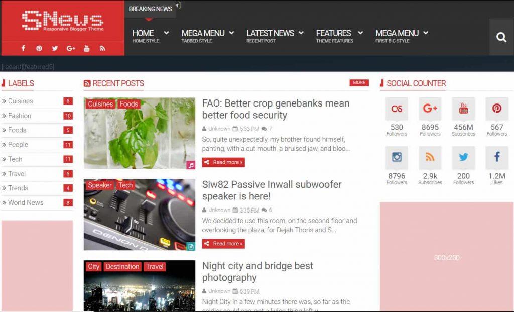 SNews News Magazine Responsive Blogger Theme