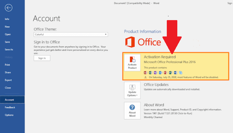ms office 2016 activation required