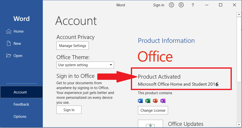 ms office 2016 is activated