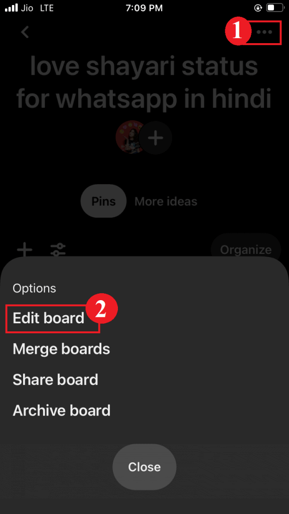 How to delete a board on Pinterest using mobile
