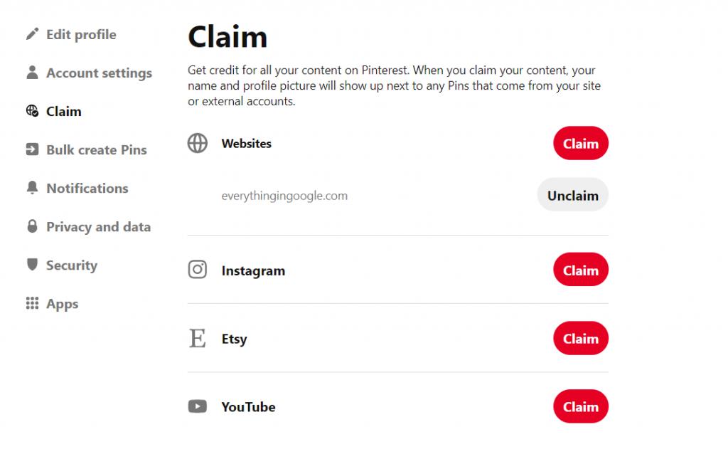 claim website confirmation in pinterest