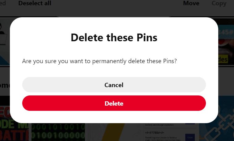delete bulk pin