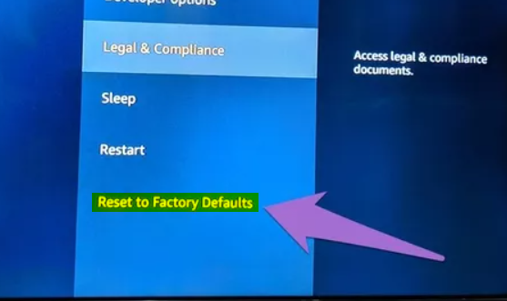 Fire TV Reset to Factory Defaults