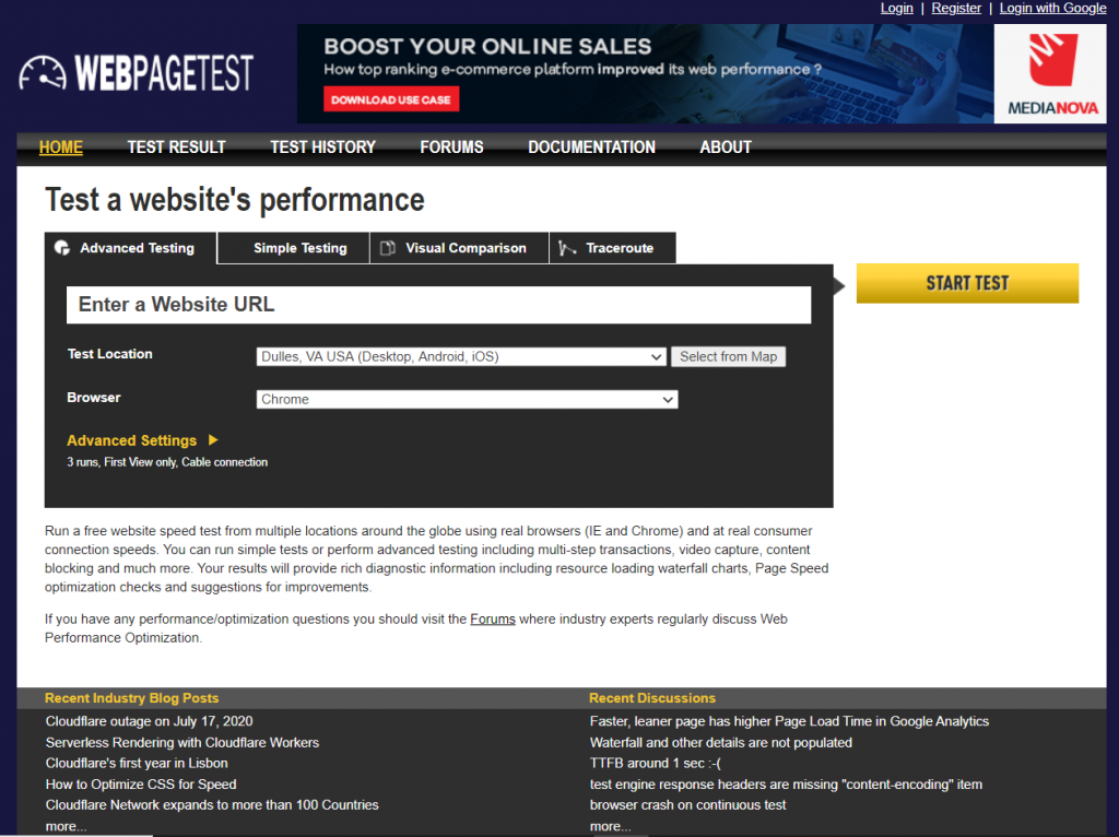webpagetest tool to check speed of website